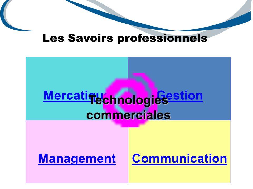 Les Savoirs professionnels MercatiqueGestion ManagementCommunicationTechnologiescommerciales
