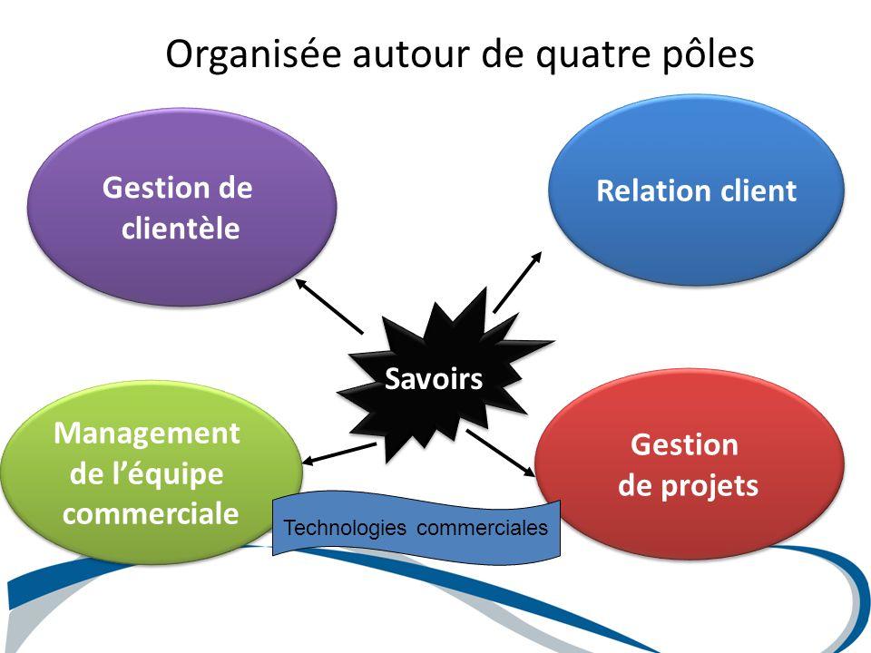 Organisée autour de quatre pôles Management de léquipe commerciale Management de léquipe commerciale Gestion de clientèle Gestion de clientèle Gestion