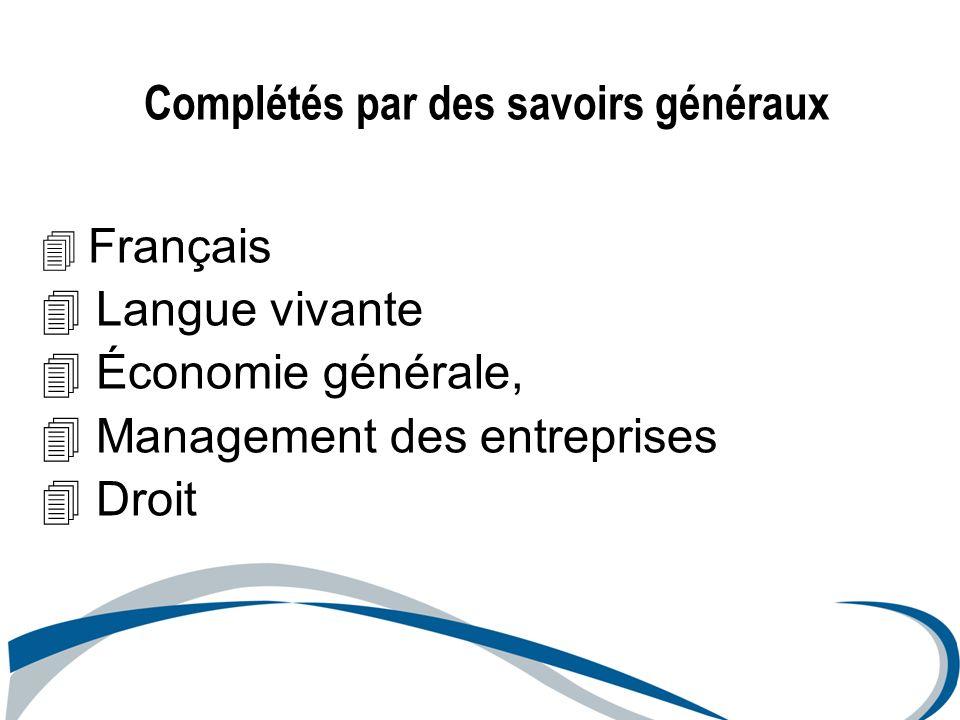 Français 4 Langue vivante 4 Économie générale, 4 Management des entreprises 4 Droit Complétés par des savoirs généraux