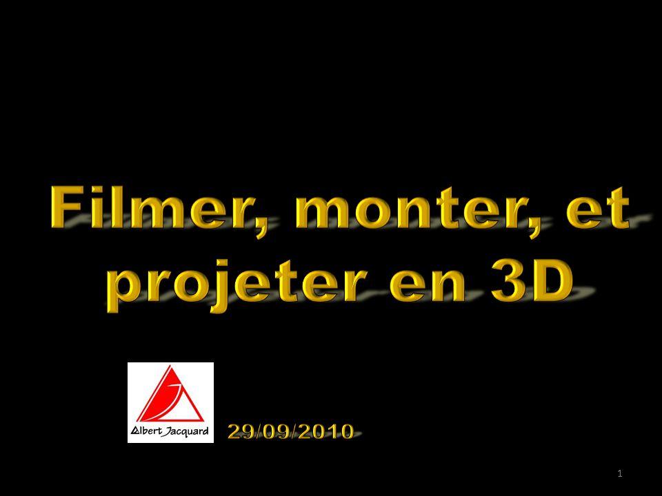 Visualising 3D Movies on YouTube Pour faire des films 3D, il faut: 2 yeux 2 caméras Pour produire des films 3D, il faut: 1 PC (mais un gros) Pour visualiser des films 3D, il faut: 2 yeux 1 ecran Des lunettes 2