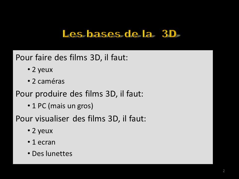 Visualising 3D Movies on YouTube Pour faire des films 3D, il faut: 2 yeux 2 caméras Pour produire des films 3D, il faut: 1 PC (mais un gros) Pour visu