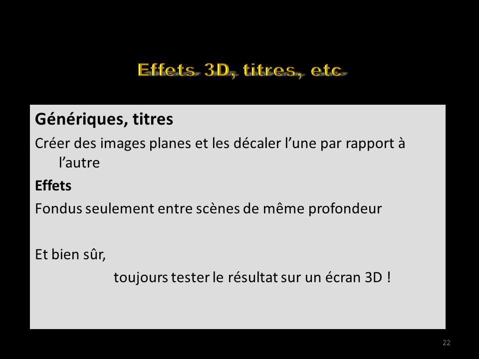 How to edit your 3D for the web (1) Génériques, titres Créer des images planes et les décaler lune par rapport à lautre Effets Fondus seulement entre