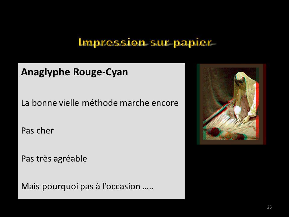 How to edit your 3D for the web (1) Anaglyphe Rouge-Cyan La bonne vielle méthode marche encore Pas cher Pas très agréable Mais pourquoi pas à loccasio