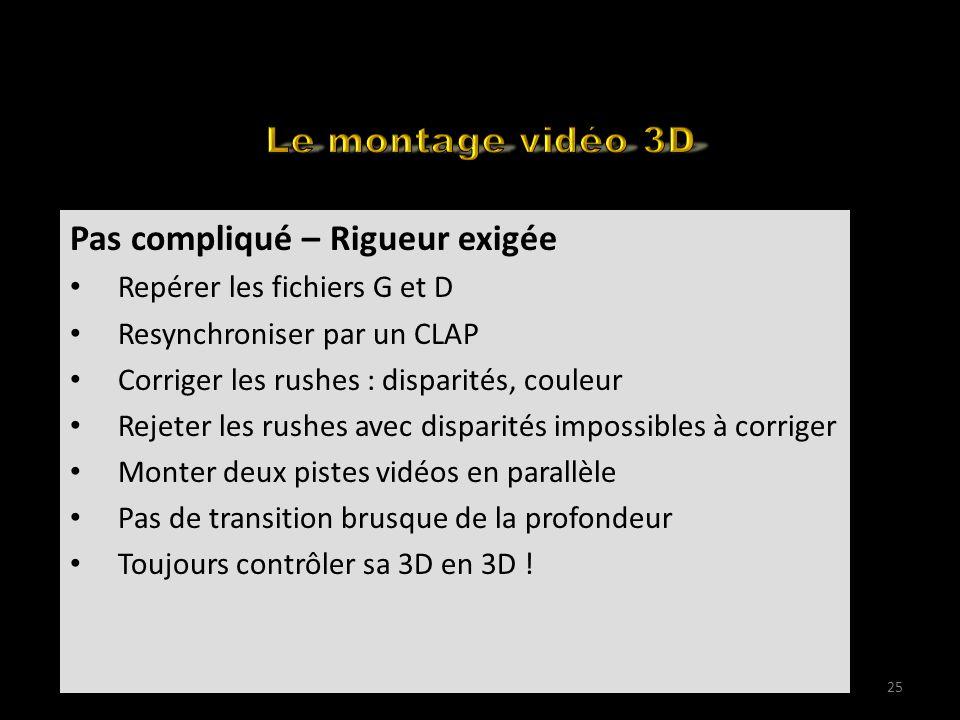 How to edit your 3D for the web (1) Pas compliqué – Rigueur exigée Repérer les fichiers G et D Resynchroniser par un CLAP Corriger les rushes : dispar