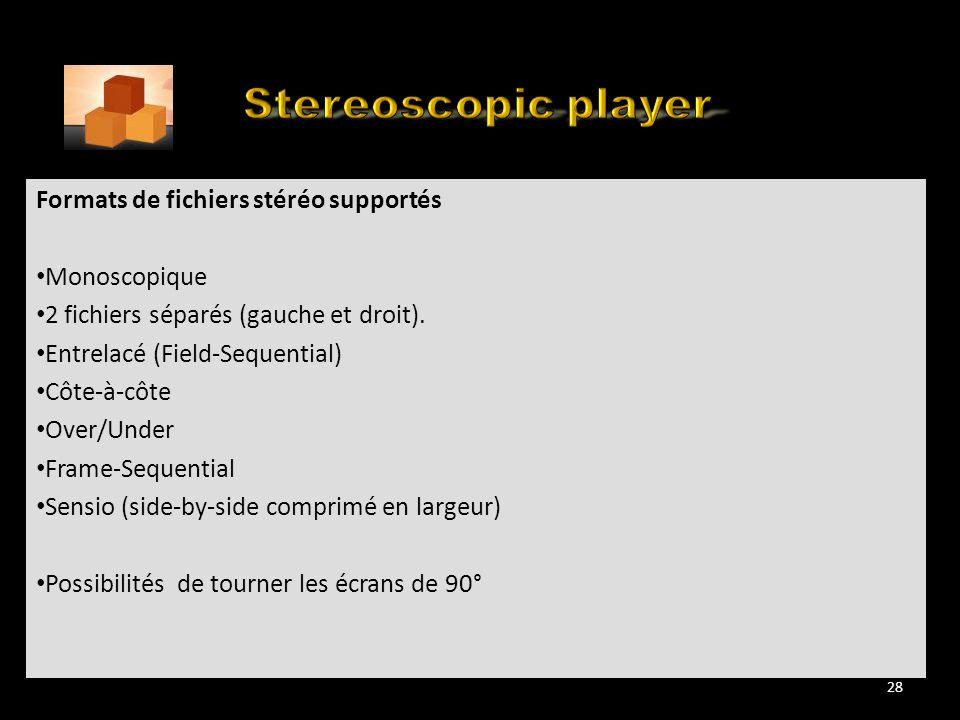 Many YouTube 3D Movies flavours Formats de fichiers stéréo supportés Monoscopique 2 fichiers séparés (gauche et droit). Entrelacé (Field-Sequential) C
