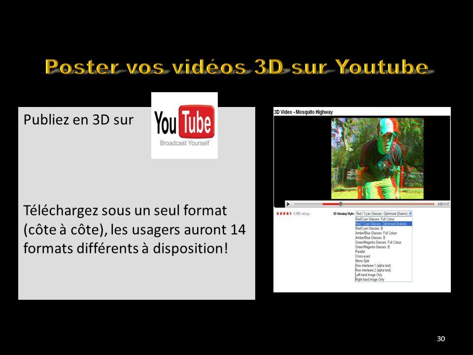 Many YouTube 3D Movies flavours Publiez en 3D sur Téléchargez sous un seul format (côte à côte), les usagers auront 14 formats différents à dispositio