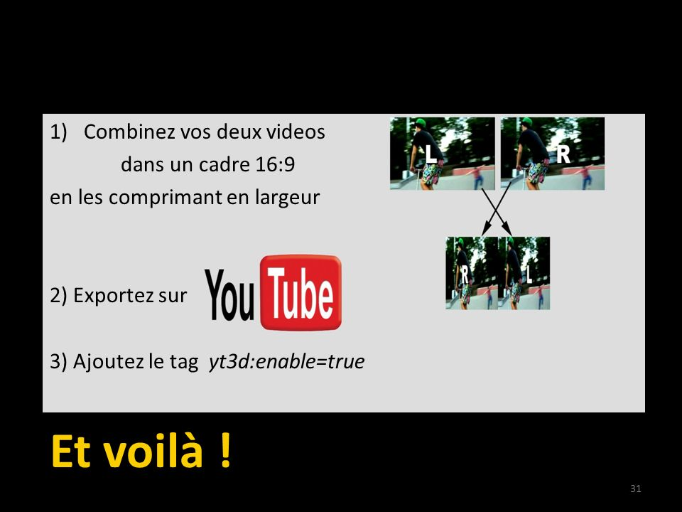How to publish your 3D movie on YouTube 1)Combinez vos deux videos dans un cadre 16:9 en les comprimant en largeur 2) Exportez sur 3) Ajoutez le tag y