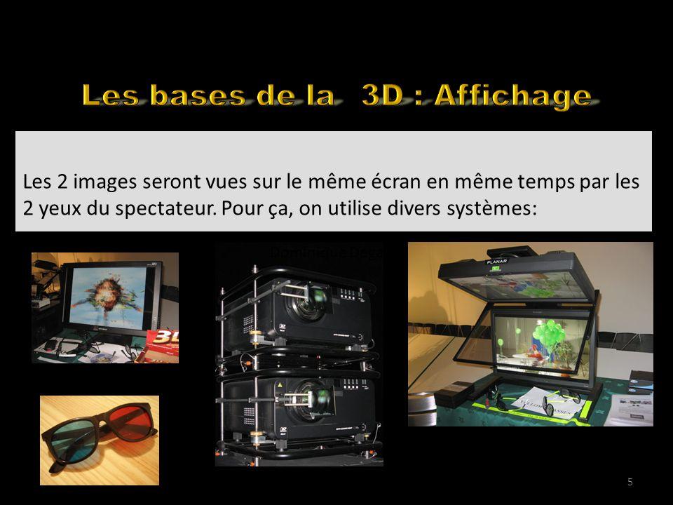 Back to the basics Les 2 images seront vues sur le même écran en même temps par les 2 yeux du spectateur. Pour ça, on utilise divers systèmes: 5 Domin