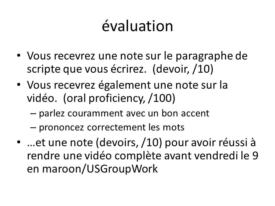 évaluation Vous recevrez une note sur le paragraphe de scripte que vous écrirez. (devoir, /10) Vous recevrez également une note sur la vidéo. (oral pr
