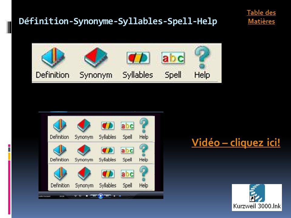 Définition-Synonyme-Syllables-Spell-Help Vidéo – cliquez ici! Table des Matières