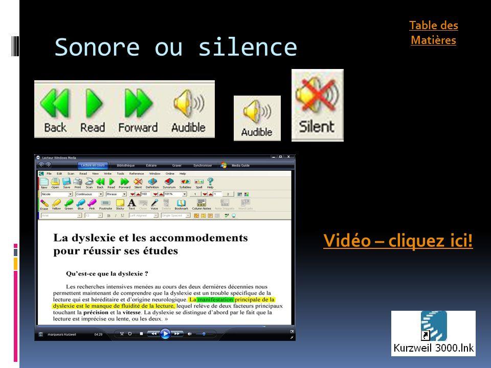 Sonore ou silence Vidéo – cliquez ici! Table des Matières