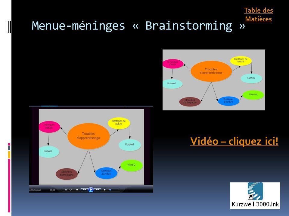 Menue-méninges « Brainstorming » Vidéo – cliquez ici! Table des Matières