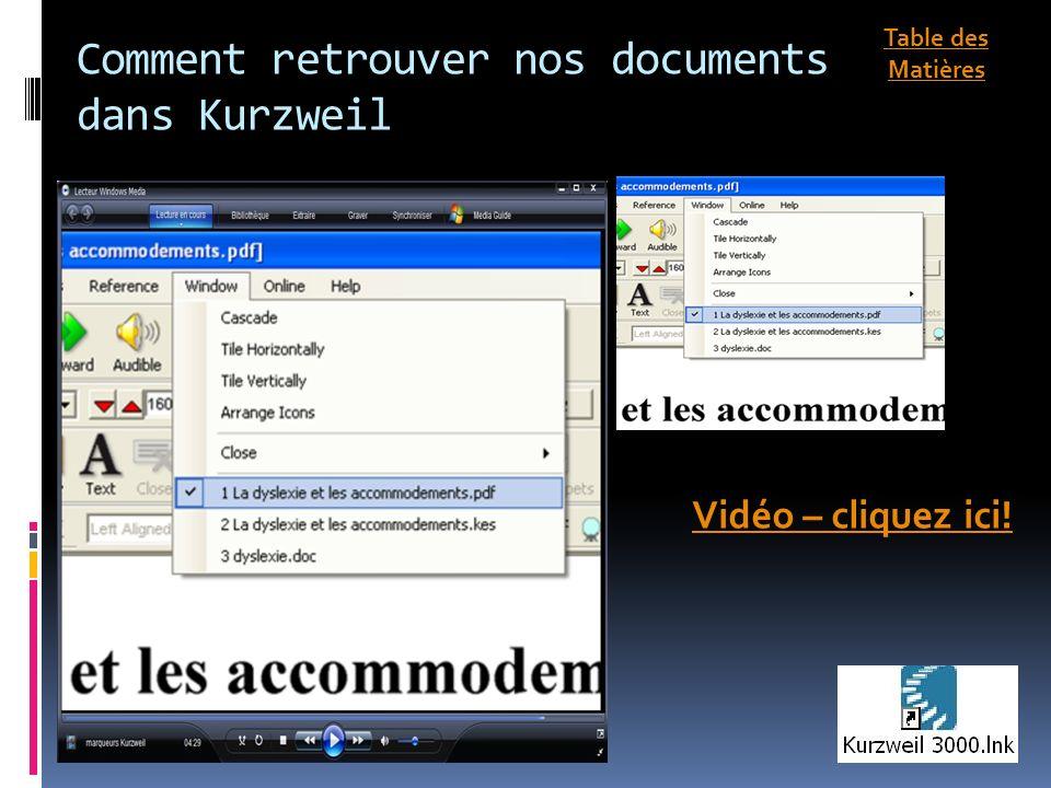 Comment retrouver nos documents dans Kurzweil Vidéo – cliquez ici! Table des Matières