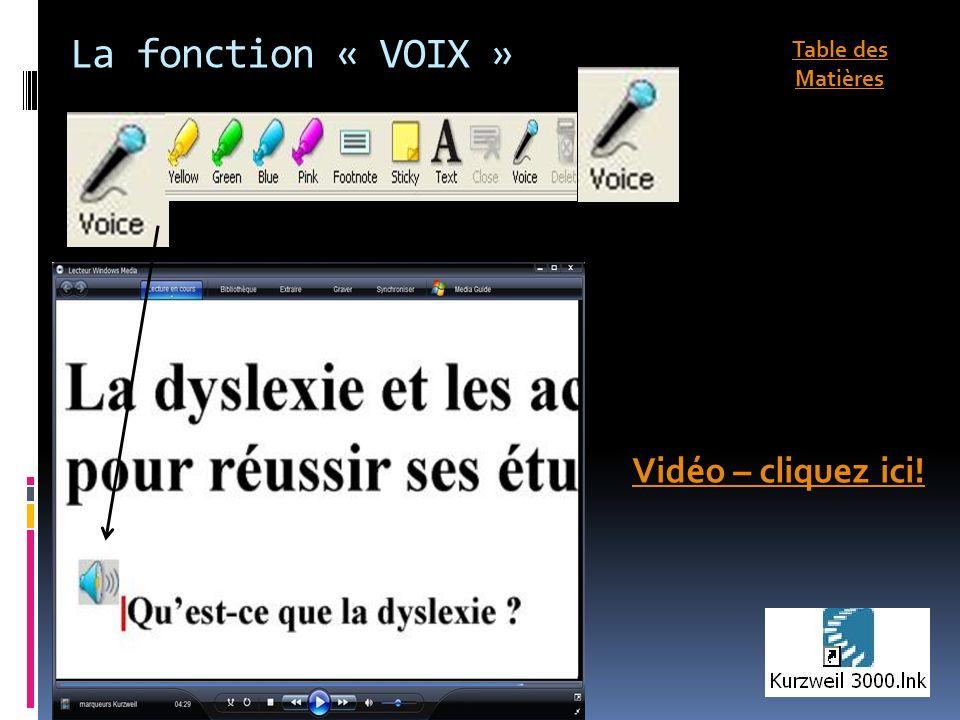 La fonction « VOIX » Vidéo – cliquez ici! Table des Matières