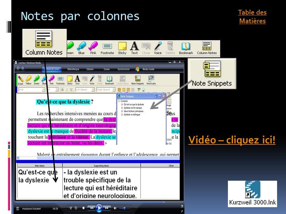 Notes par colonnes Vidéo – cliquez ici! Table des Matières