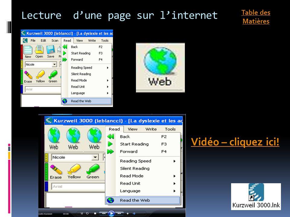Lecture dune page sur linternet Vidéo – cliquez ici! Table des Matières