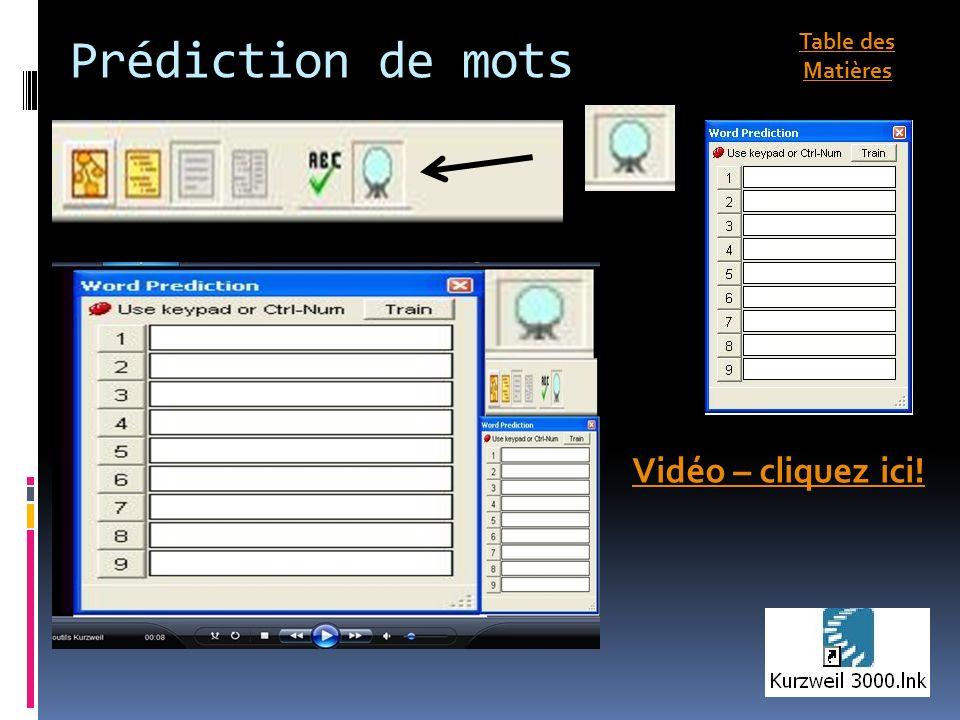 Prédiction de mots Vidéo – cliquez ici! Table des Matières