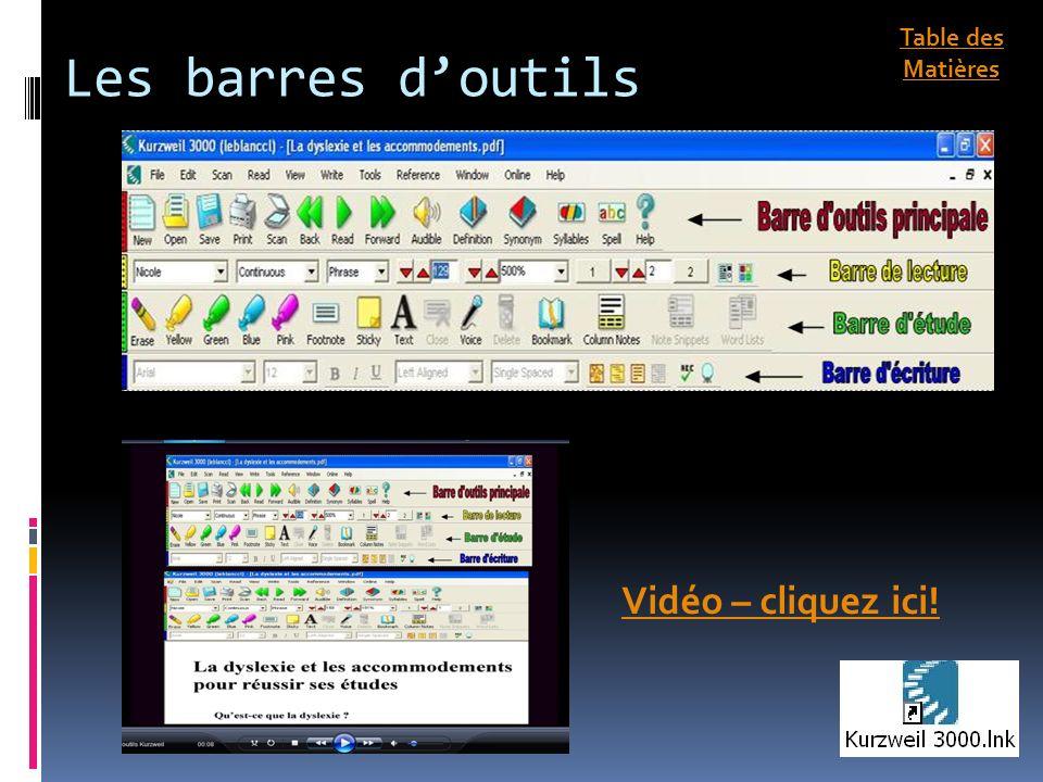 Les barres de couleurs Vidéo – cliquez ici! Table des Matières