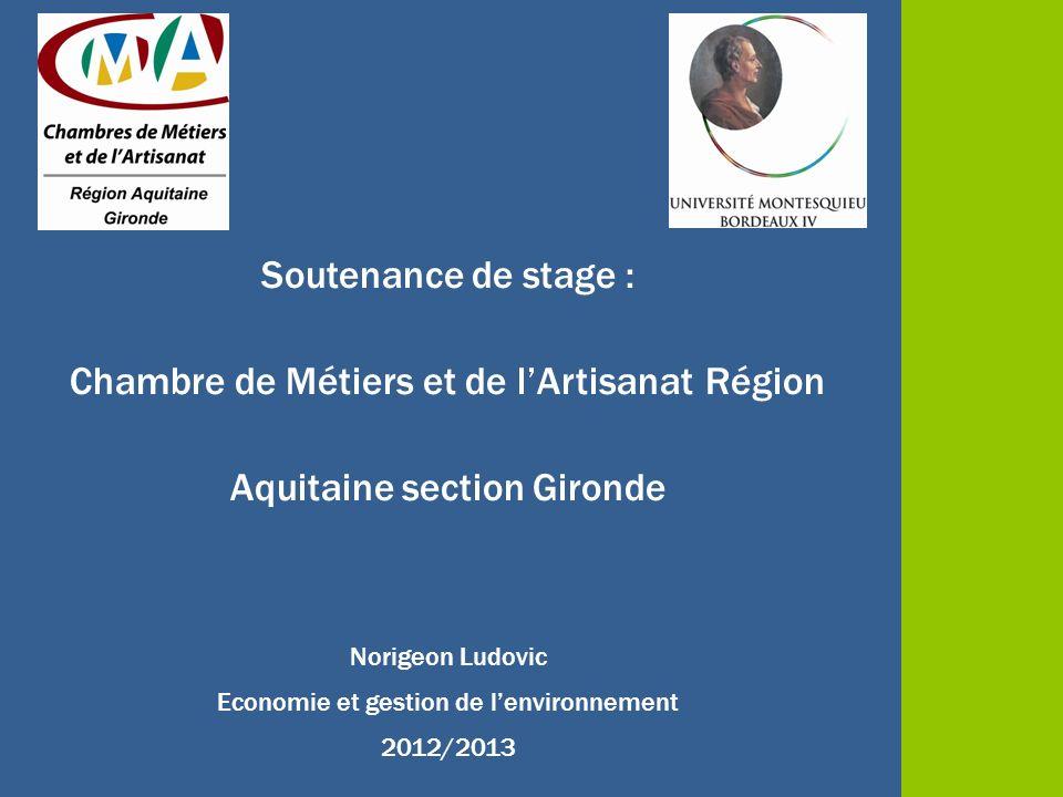 Soutenance de stage : Chambre de Métiers et de lArtisanat Région Aquitaine section Gironde Norigeon Ludovic Economie et gestion de lenvironnement 2012