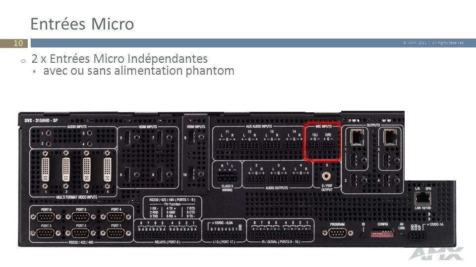 © AMX 2011 | All Rights Reserved Entrées Micro o 2 x Entrées Micro Indépendantes avec ou sans alimentation phantom 10