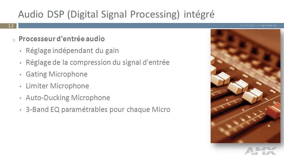 © AMX 2011 | All Rights Reserved Audio DSP (Digital Signal Processing) intégré 12 o Processeur d'entrée audio Réglage indépendant du gain Réglage de l