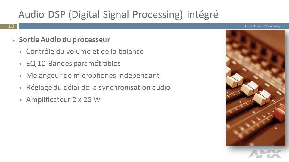 © AMX 2011 | All Rights Reserved Audio DSP (Digital Signal Processing) intégré 13 o Sortie Audio du processeur Contrôle du volume et de la balance EQ