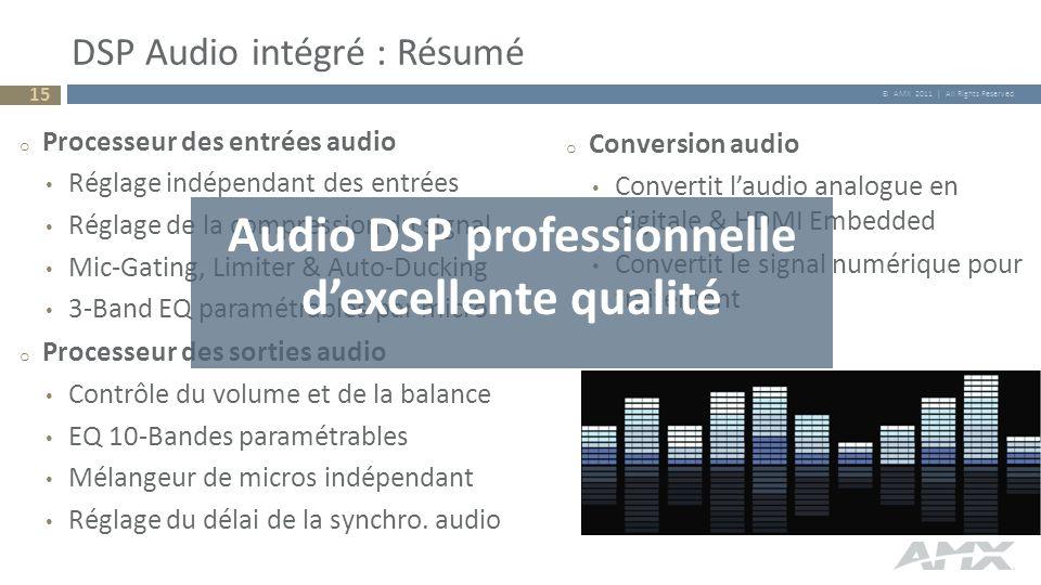 © AMX 2011 | All Rights Reserved o Processeur des entrées audio Réglage indépendant des entrées Réglage de la compression du signal Mic-Gating, Limite