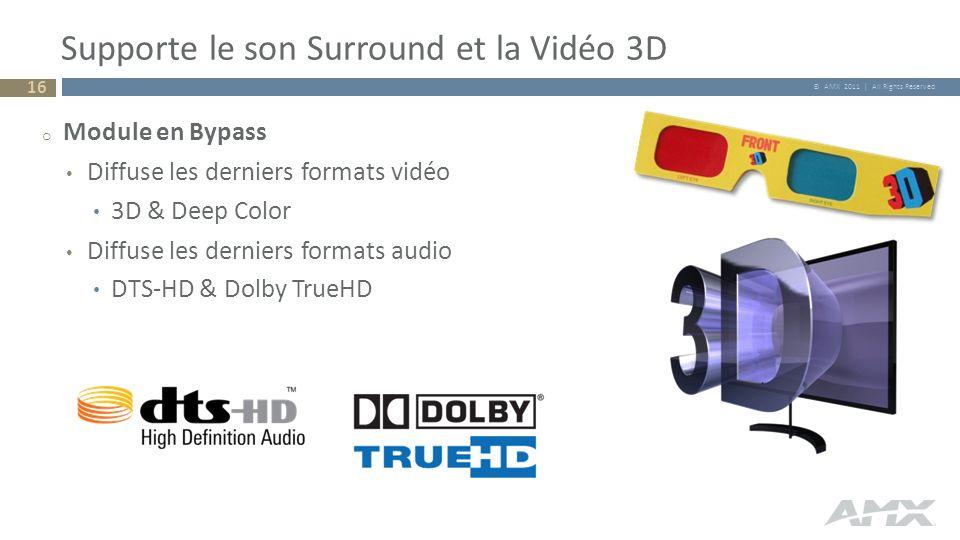 © AMX 2011 | All Rights Reserved Supporte le son Surround et la Vidéo 3D 16 o Module en Bypass Diffuse les derniers formats vidéo 3D & Deep Color Diff
