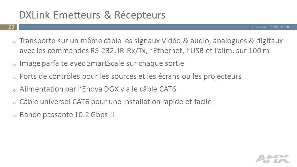 © AMX 2011 | All Rights Reserved DXLink Emetteurs & Récepteurs o Transporte sur un même câble les signaux Vidéo & audio, analogues & digitaux avec les