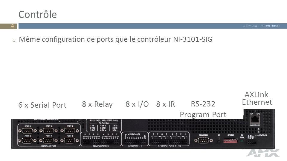 © AMX 2011 | All Rights Reserved Contrôle 6 x Serial Port 8 x Relay8 x I/O8 x IR RS-232 Program Port Ethernet AXLink o Même configuration de ports que