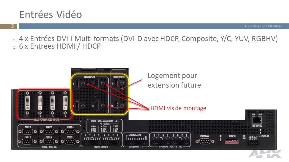 © AMX 2011 | All Rights Reserved Entrées Vidéo Logement pour extension future o 4 x Entrées DVI-I Multi formats (DVI-D avec HDCP, Composite, Y/C, YUV,