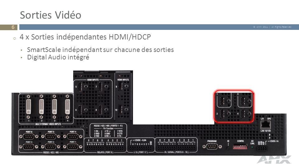 © AMX 2011 | All Rights Reserved Sorties Vidéo o 4 x Sorties indépendantes HDMI/HDCP SmartScale indépendant sur chacune des sorties Digital Audio inté