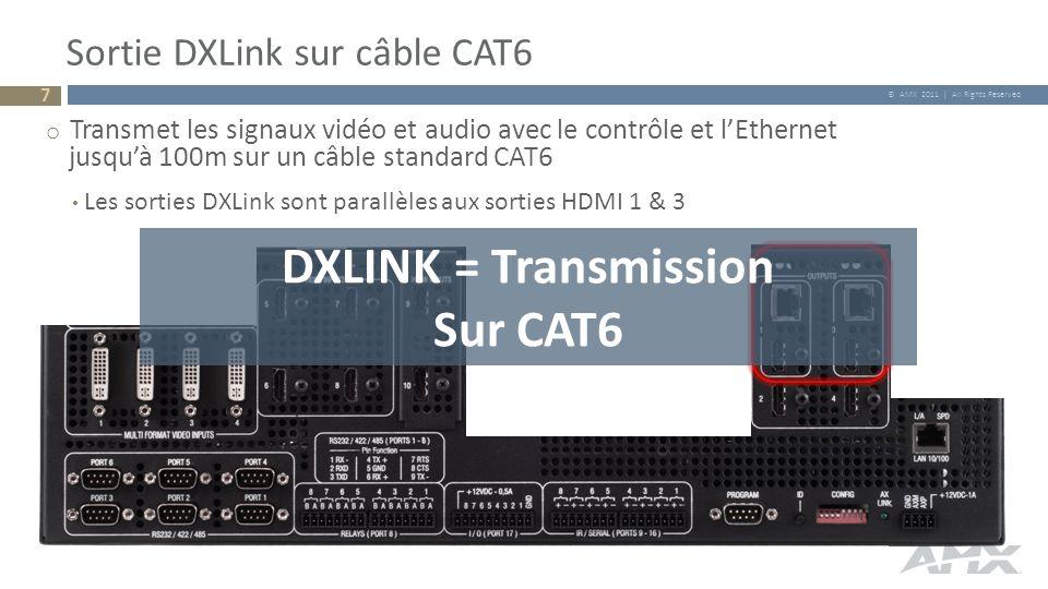 © AMX 2011   All Rights Reserved o 10 x 4(+2) Matrice Video 4 x Entrées multi formats 6 x Entrées HDMI 4 x Sorties HDMI 2 x Sorties DXLink En parallèle aux 2 sorties HDMI Aperçu de la matrice A/V 28 o 14 x 4(+7) Matrice Audio 4 x Entrées audio Unbalanced 1 / entrée multi formats Sorties du signal audio provenant de chacune des 6 entrées HDMI 4 Entrées Balanced/Unbalanced suppl.