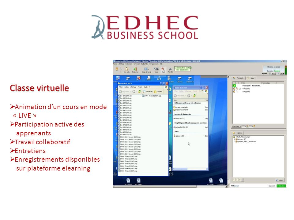 Classe virtuelle Animation dun cours en mode « LIVE » Participation active des apprenants Travail collaboratif Entretiens Enregistrements disponibles