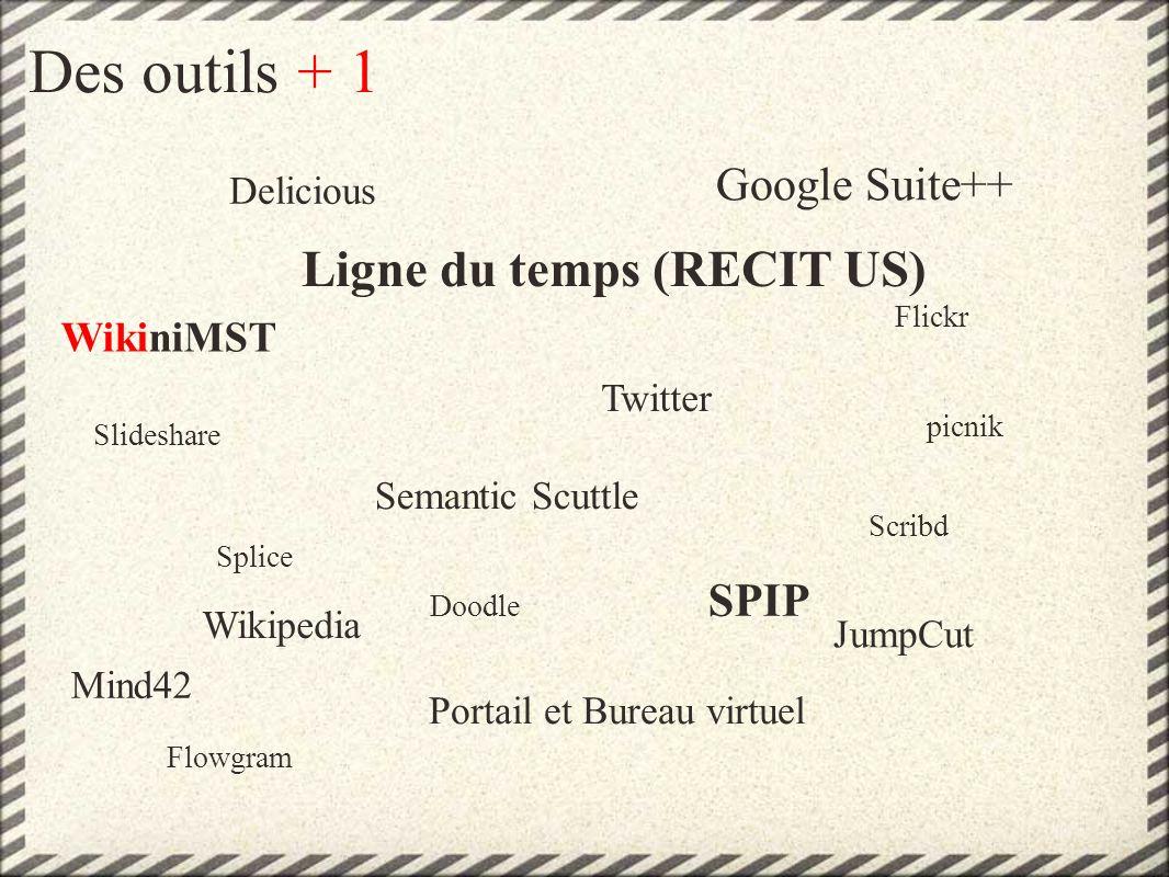 Des outils + 1 Delicious Ligne du temps (RECIT US) WikiniMST Google Suite++ Mind42 Flickr Twitter SPIP Portail et Bureau virtuel Slideshare Splice Semantic Scuttle Scribd Flowgram Doodle picnik Wikipedia JumpCut