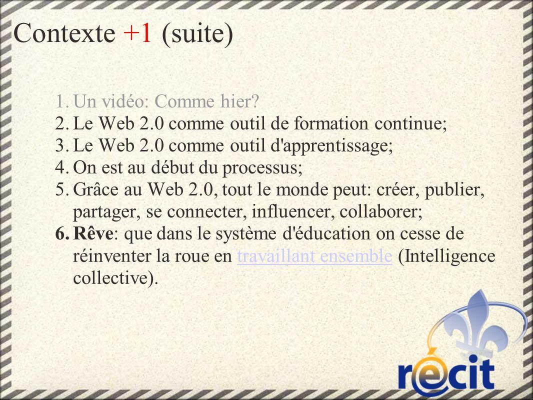 Contexte +1 (suite) 1.Un vidéo: Comme hier.