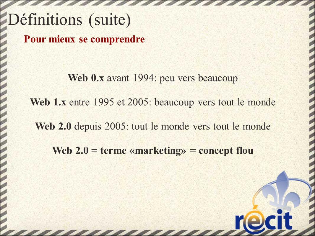 Définitions (suite) Pour mieux se comprendre Web 0.x avant 1994: peu vers beaucoup Web 1.x entre 1995 et 2005: beaucoup vers tout le monde Web 2.0 depuis 2005: tout le monde vers tout le monde Web 2.0 = terme «marketing» = concept flou