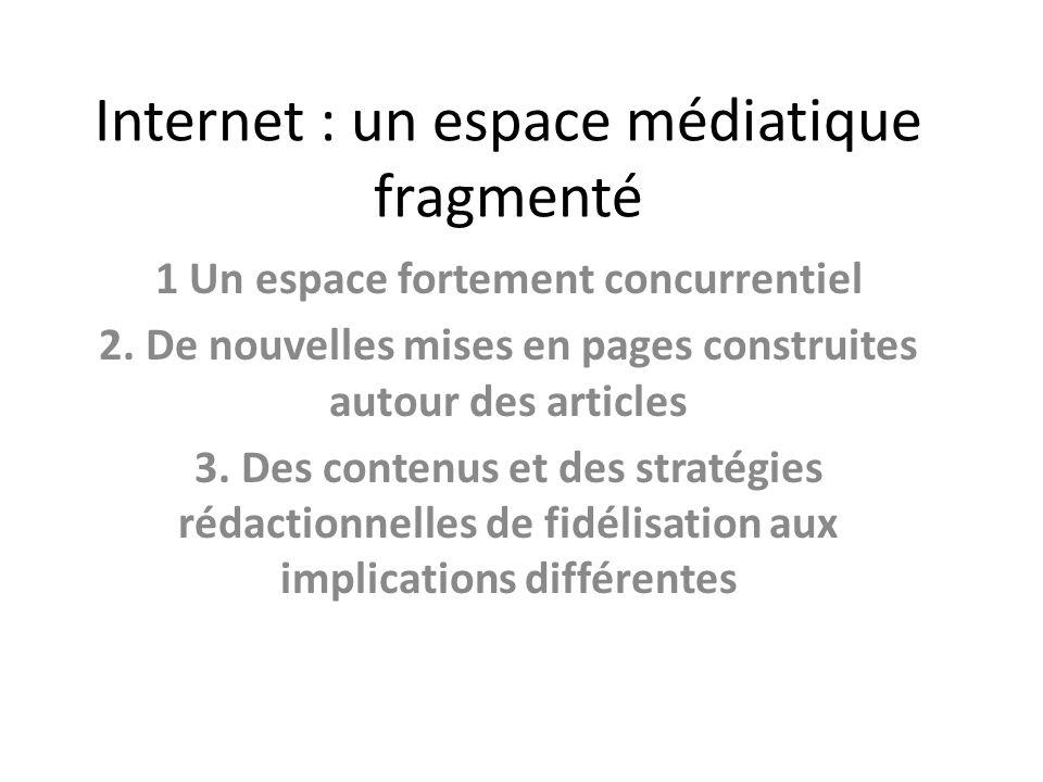 Internet : un espace médiatique fragmenté 1 Un espace fortement concurrentiel 2.
