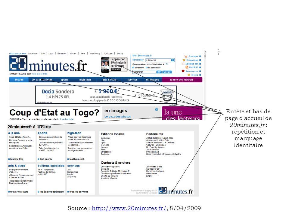 [….][….] Entête et bas de page daccueil de 20minutes.fr : répétition et marquage identitaire Source : http://www.20minutes.fr/, 8/04/2009http://www.20minutes.fr/