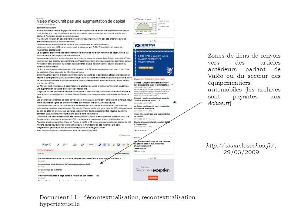 Zones de liens de renvois vers des articles antérieurs parlant de Valéo ou du secteur des équipementiers automobiles (les archives sont payantes aux échos.fr ) http://www.lesechos.fr/, 29/03/2009 Document 11 – décontextualisation, recontextualisation hypertextuelle