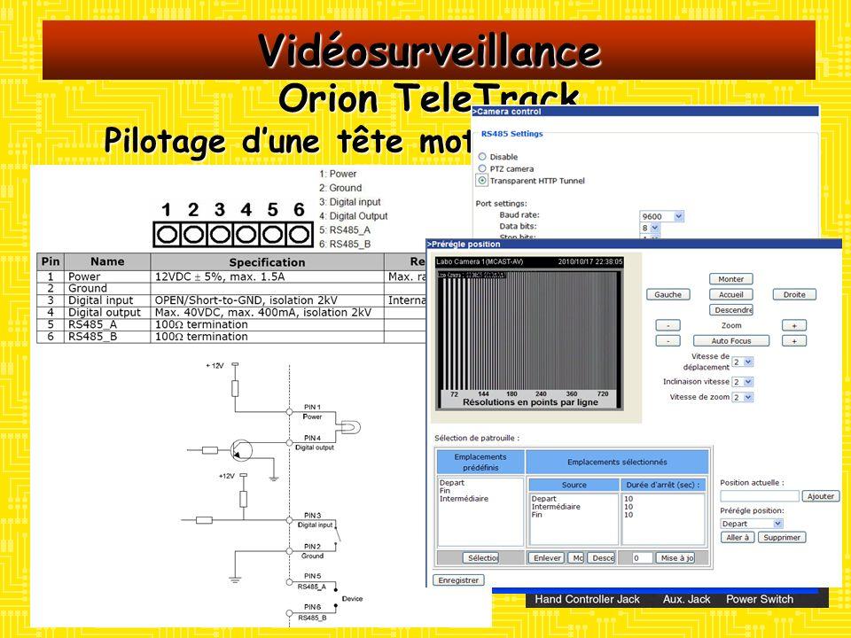 Vidéosurveillance Orion TeleTrack Pilotage dune tête motorisée de caméra Moyens : Un serveur vidéo VIVOTEK VS7100 non configuré Une tête motorisée azi