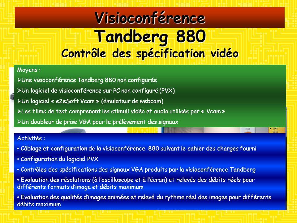 Visioconférence Tandberg 880 Contrôle des spécification vidéo Moyens : Une visioconférence Tandberg 880 non configurée Un logiciel de visioconférence