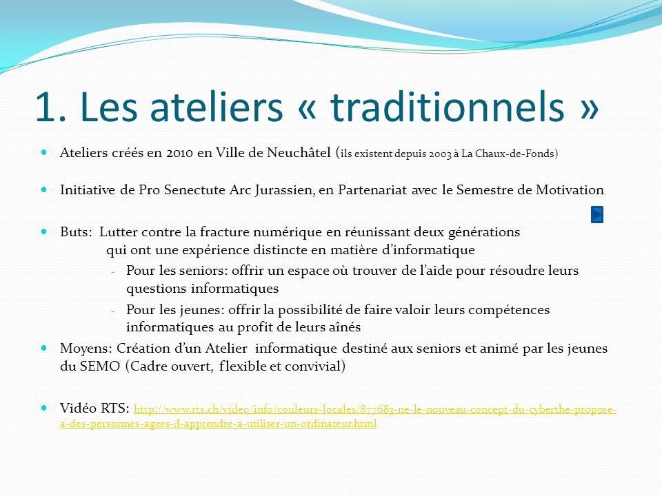 1. Les ateliers « traditionnels » Ateliers créés en 2010 en Ville de Neuchâtel ( ils existent depuis 2003 à La Chaux-de-Fonds) Initiative de Pro Senec