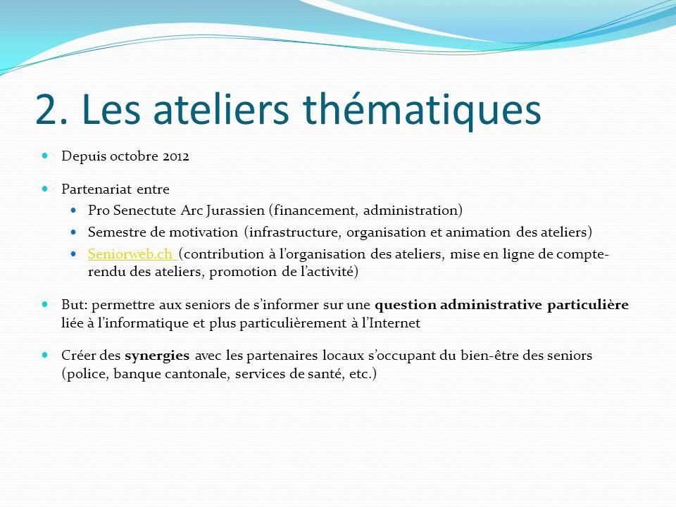 2. Les ateliers thématiques Depuis octobre 2012 Partenariat entre Pro Senectute Arc Jurassien (financement, administration) Semestre de motivation (in