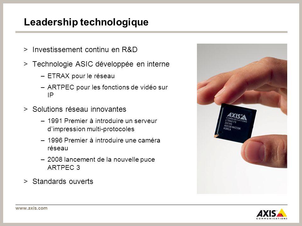 www.axis.com Leadership technologique >Investissement continu en R&D >Technologie ASIC développée en interne –ETRAX pour le réseau –ARTPEC pour les fo