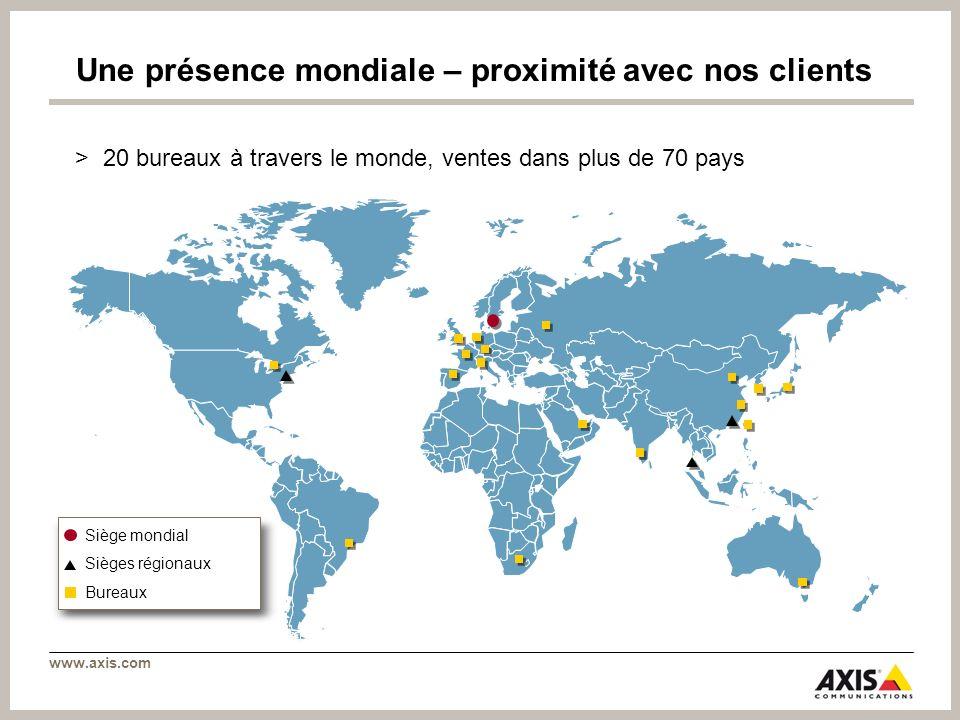 www.axis.com Une présence mondiale – proximité avec nos clients >20 bureaux à travers le monde, ventes dans plus de 70 pays Siège mondial Sièges régio