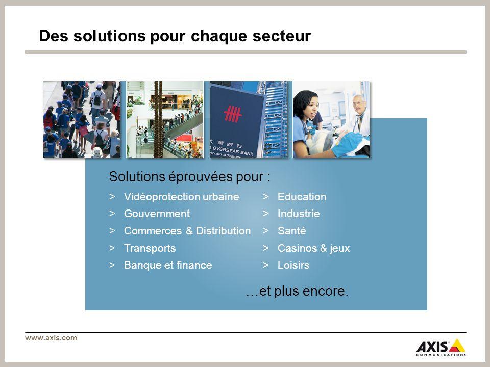 www.axis.com >Vidéoprotection urbaine >Gouvernment >Commerces & Distribution >Transports >Banque et finance >Education >Industrie >Santé >Casinos & je