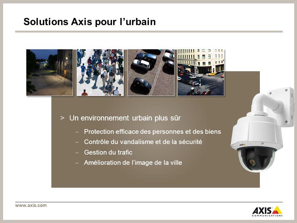 www.axis.com Solutions Axis pour lurbain >Un environnement urbain plus sûr Protection efficace des personnes et des biens Contrôle du vandalisme et de