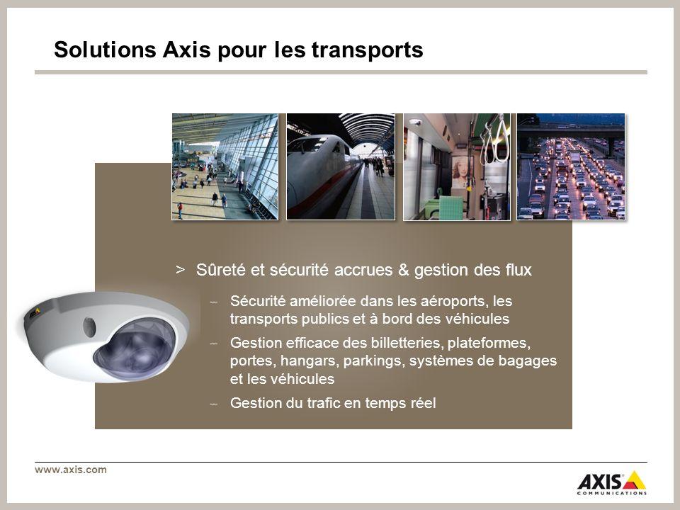 www.axis.com Solutions Axis pour les transports >Sûreté et sécurité accrues & gestion des flux Sécurité améliorée dans les aéroports, les transports p