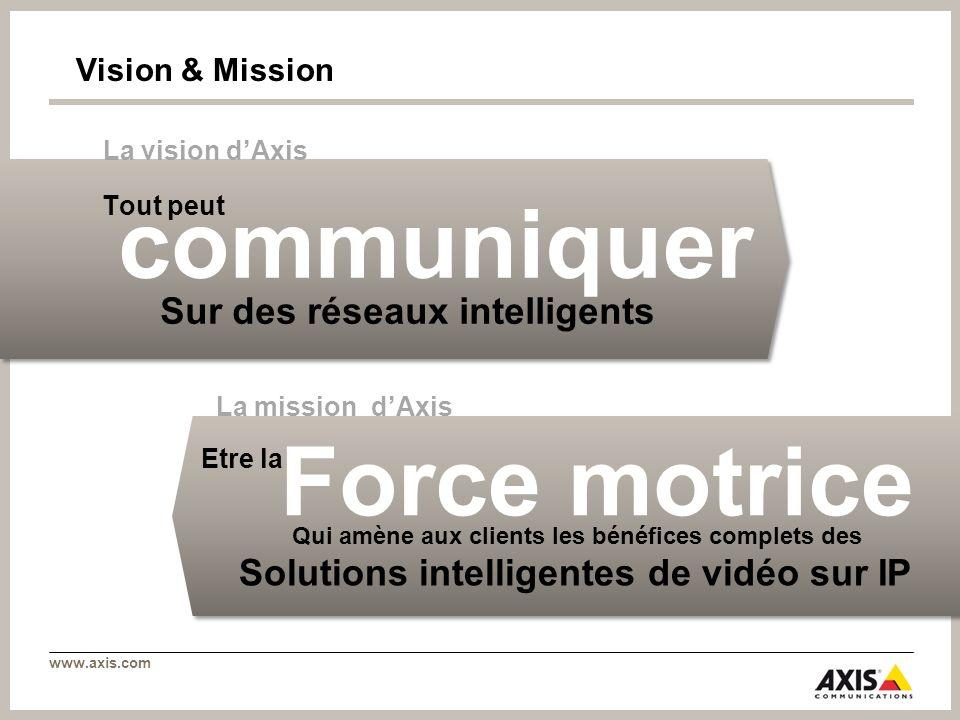 www.axis.com Vision & Mission Etre la Qui amène aux clients les bénéfices complets des Force motrice Solutions intelligentes de vidéo sur IP La missio